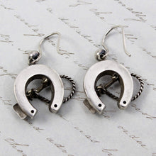 Load image into Gallery viewer, Victorian Horseshoe Earrings, Antique Sterling Silver Good Luck Charm, Horse Lover Friendship Gift Jewelry