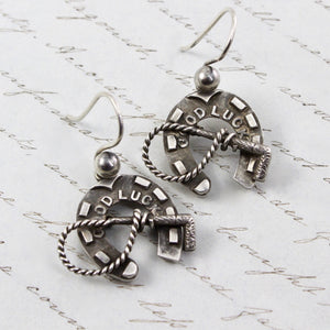 Victorian Horseshoe Earrings, Antique Sterling Silver Good Luck Charm, Horse Lover Friendship Gift Jewelry