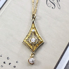 Load image into Gallery viewer, Edwardian Diamond & Pearl Lavaliere Pendant, Antique 14k Yellow and White Gold Filigree Bridal Necklace Jewelry