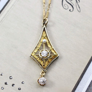 Edwardian Diamond & Pearl Lavaliere Pendant, Antique 14k Yellow and White Gold Filigree Bridal Necklace Jewelry
