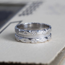 Load image into Gallery viewer, Art Deco White Gold Wedding Band, Vintage 14K Eternity Hearts and Flowers Stacking Ring