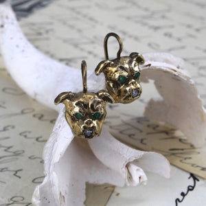 Victorian Style Dog Earrings, Bulldog Pug Boston Terrier Boxer with Emerald & Diamond, Dog Lover Statement Jewelry Gift