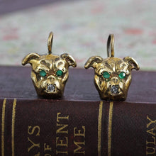 Load image into Gallery viewer, Victorian Style Dog Earrings, Bulldog Pug Boston Terrier Boxer with Emerald & Diamond, Dog Lover Statement Jewelry Gift