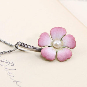 Art Nouveau Enamel Flower Necklace, Antique 14k & Sterling Pink Flower, Bridal Jewelry Anniversary Gift, Rose Cut Diamond Pearl Pendant