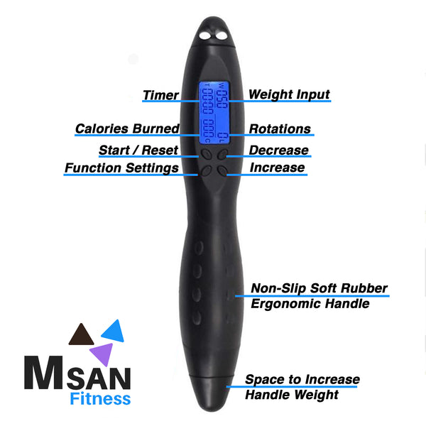 MSAN Fitness Electronic Skipping Rope with Fitness Tracker - MSAN Solutions Inc