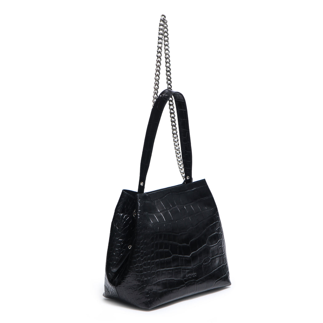 Núnoo Chiara croco deluxe black Crossbody Black