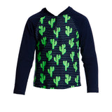 FUNKY TRUNKS - TODDLER BOYS PRINTED ZIPPY RASH VEST - PRICKLY PETE