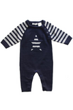 Winter Beanstork Navy Star Romper
