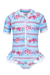 SUN EMPORIUM BABY GIRLS SHORT SLEEVE FRILL SUIT