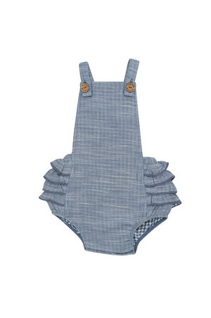 TINY TWIG - FRILL ROMPER -BLUE CHAMBRAY
