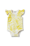 WILSON + FRENCHY - MELLOW YELLOW FLUTTER SLEEVE BODYSUIT
