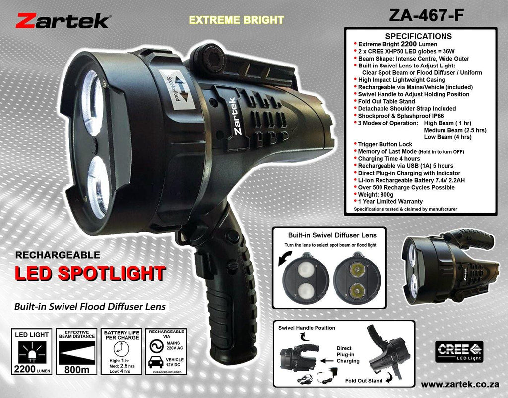 ZA-467-F Rechargeable LED Spotlight 2200LM - Natshoot Shop