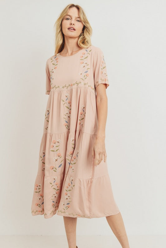 Sabrina modest midi dress in blush