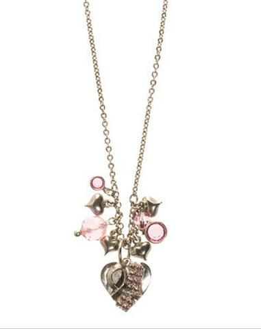 Sorrelli Antique Silver Breast Cancer Awareness Cluster Necklace in Crystal Rose (Antique Silver-Tone finish)