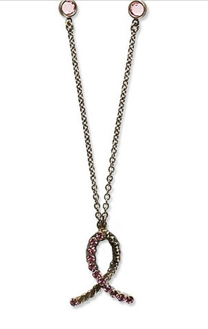 Sorrelli Limited Edition 2009 Breast Cancer Awareness Pendant Necklace in Crystal Rose (Antique Silver-Tone finish)