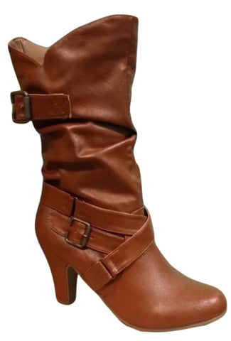Bamboo Verde-47 Multi Strap/Buckle Boot in Chestnut