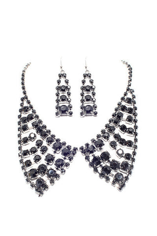 Collar Design Necklace and Earring Set
