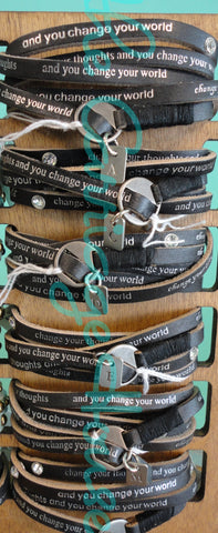 Leather Wrap Bracelet with Initial Charm