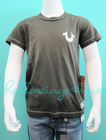 Boys - True Religion Puff Logo Crew Neck Tee in Army (Green)