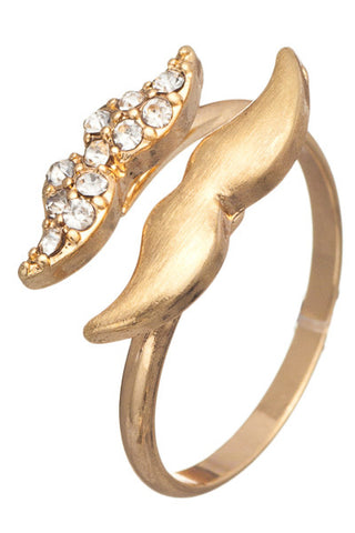 Embellished Mustache Ring Gold Tone