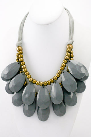 Anthropologie Inspired Large Acrylic Teardrop Necklace in Grey