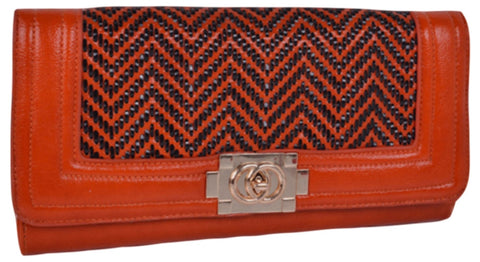Large Chevron Boy Clutch in Orange