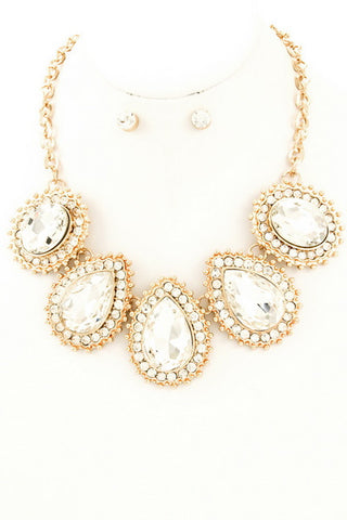 Crystal Studded Glass Stone Necklace Set in Gold/Clear