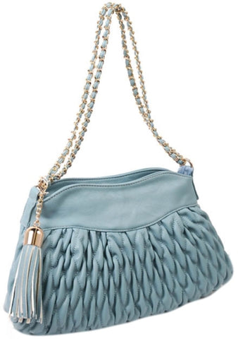 Louis Cardy Quilted Shoulder Bag in Blue