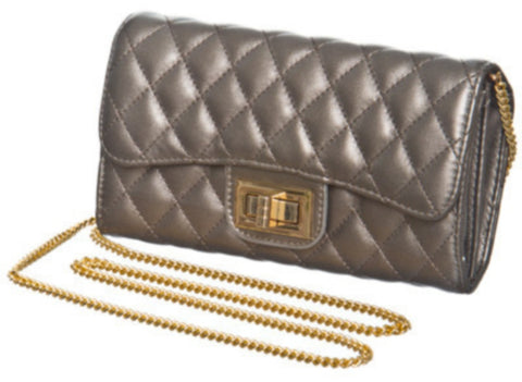 Quilted Wallet / Clutch on Chain in Pewter