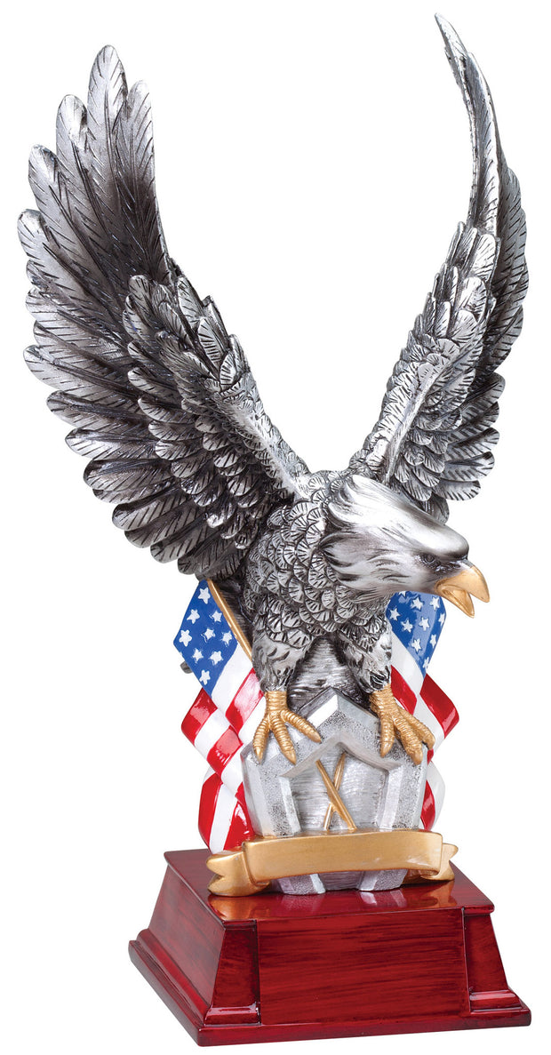 Hand Painted American Eagle With Flag