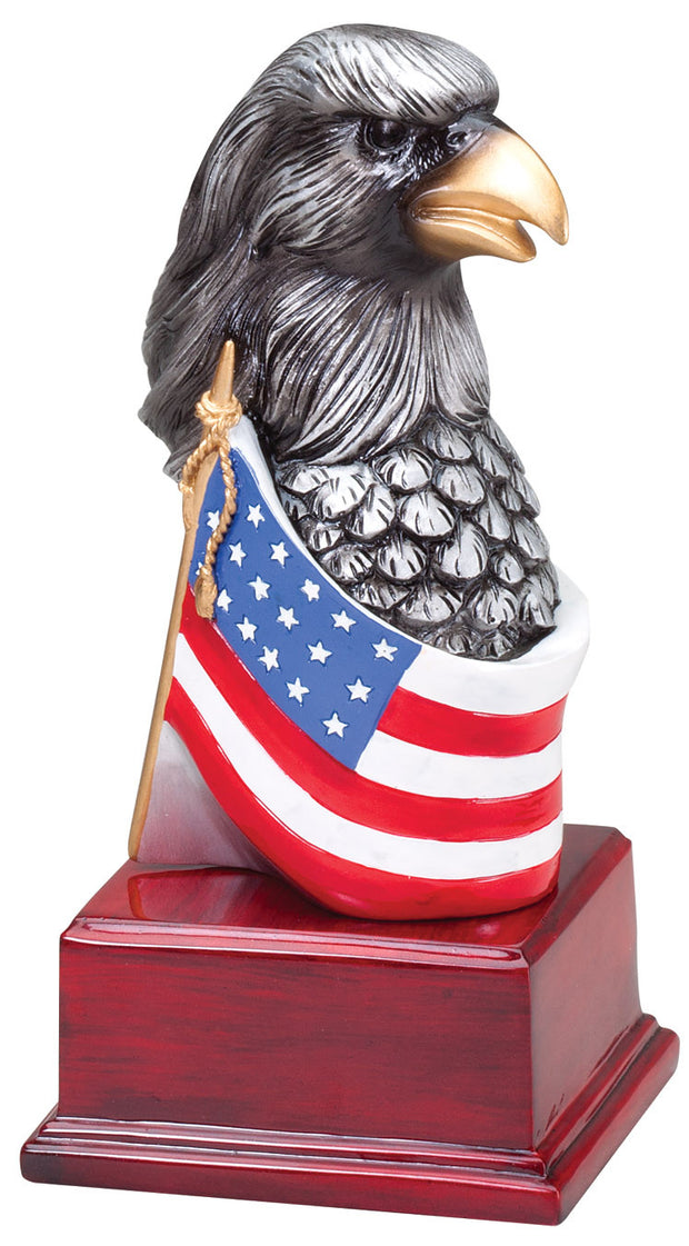 Hand Painted American Eagle Head With Flag