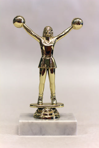 Cheerleader Trophy on Marble 4.5 inches tall