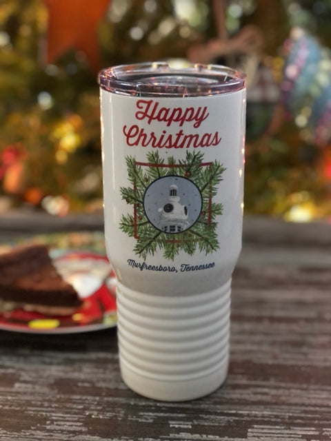 Happy Christmas Wreath Tumbler