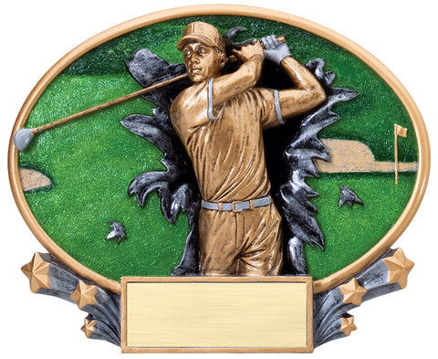 Golf Large Resin Plate Trophy