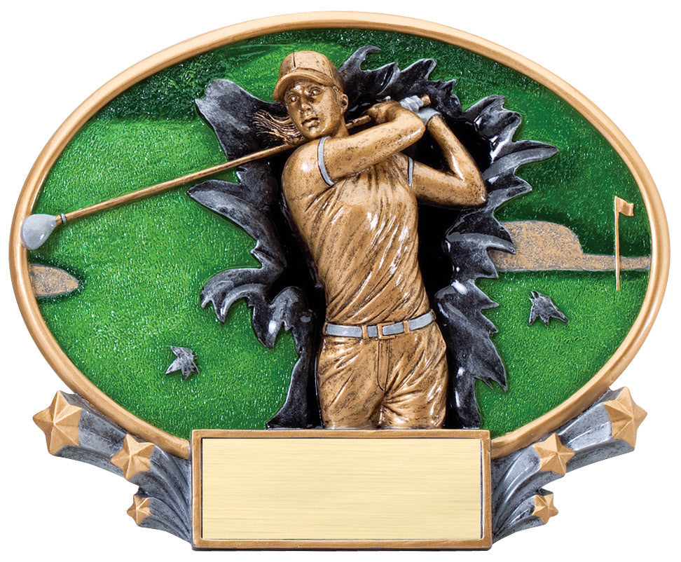 Female Golf Large Resin Plate Trophy
