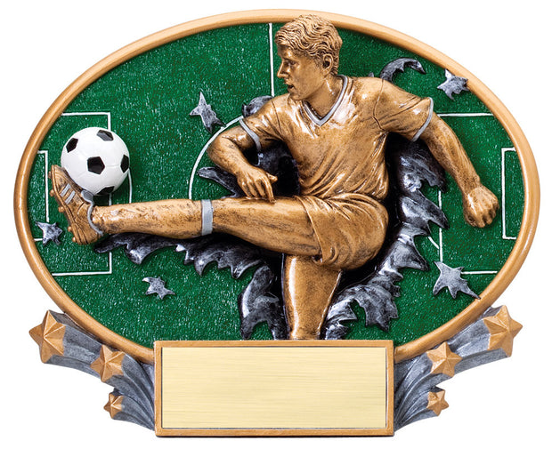 Male Soccer Large Resin Plate Trophy