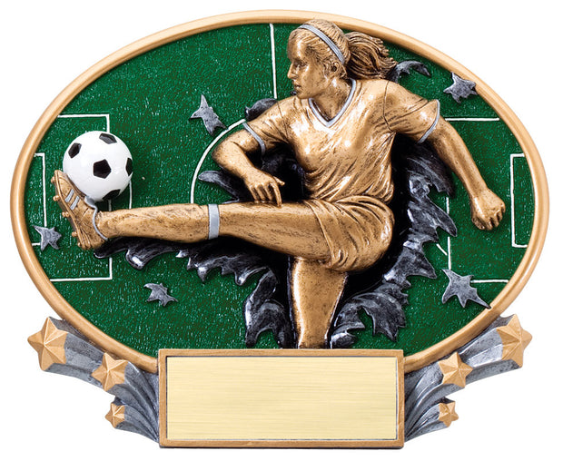 Female Soccer Large Resin Plate Trophy