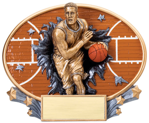 Basketball Male 3D Trophy Plate