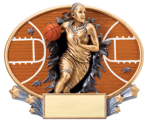Basketball Female 3D Trophy Plate