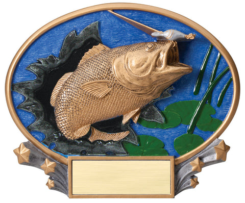 Fishing 3D Resin Oval Trophy