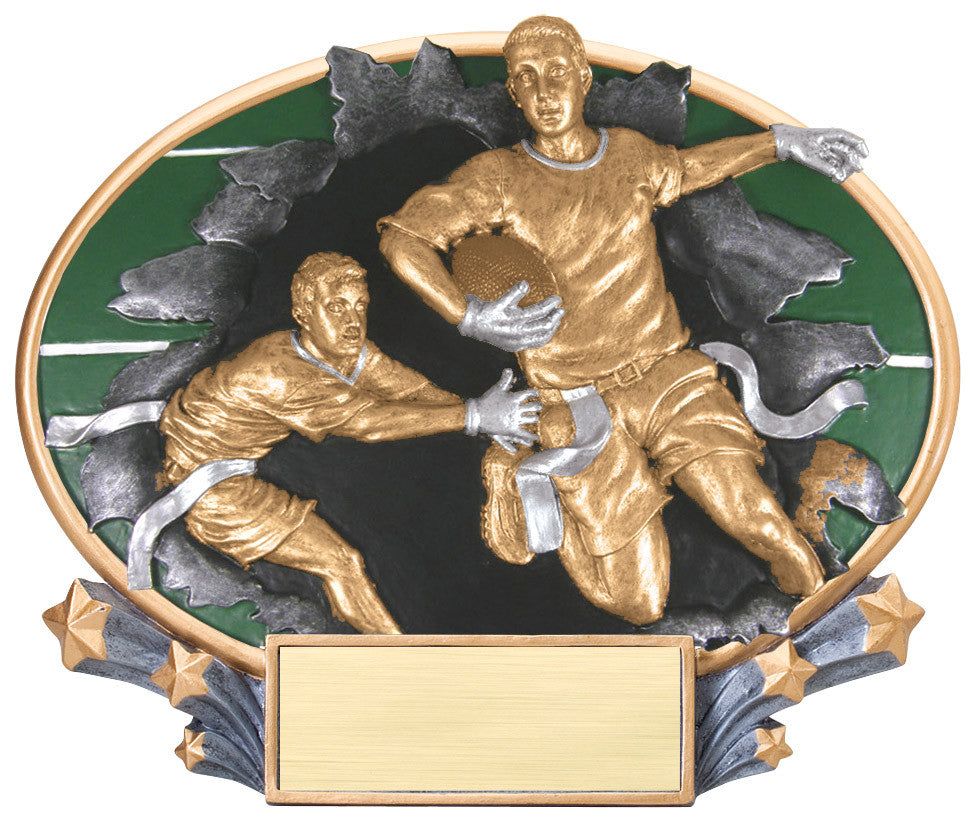 Flag Football 3D Resin Plate Trophy