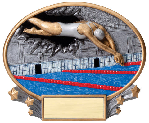 Female Swimming 3D Resin Trophy Plate