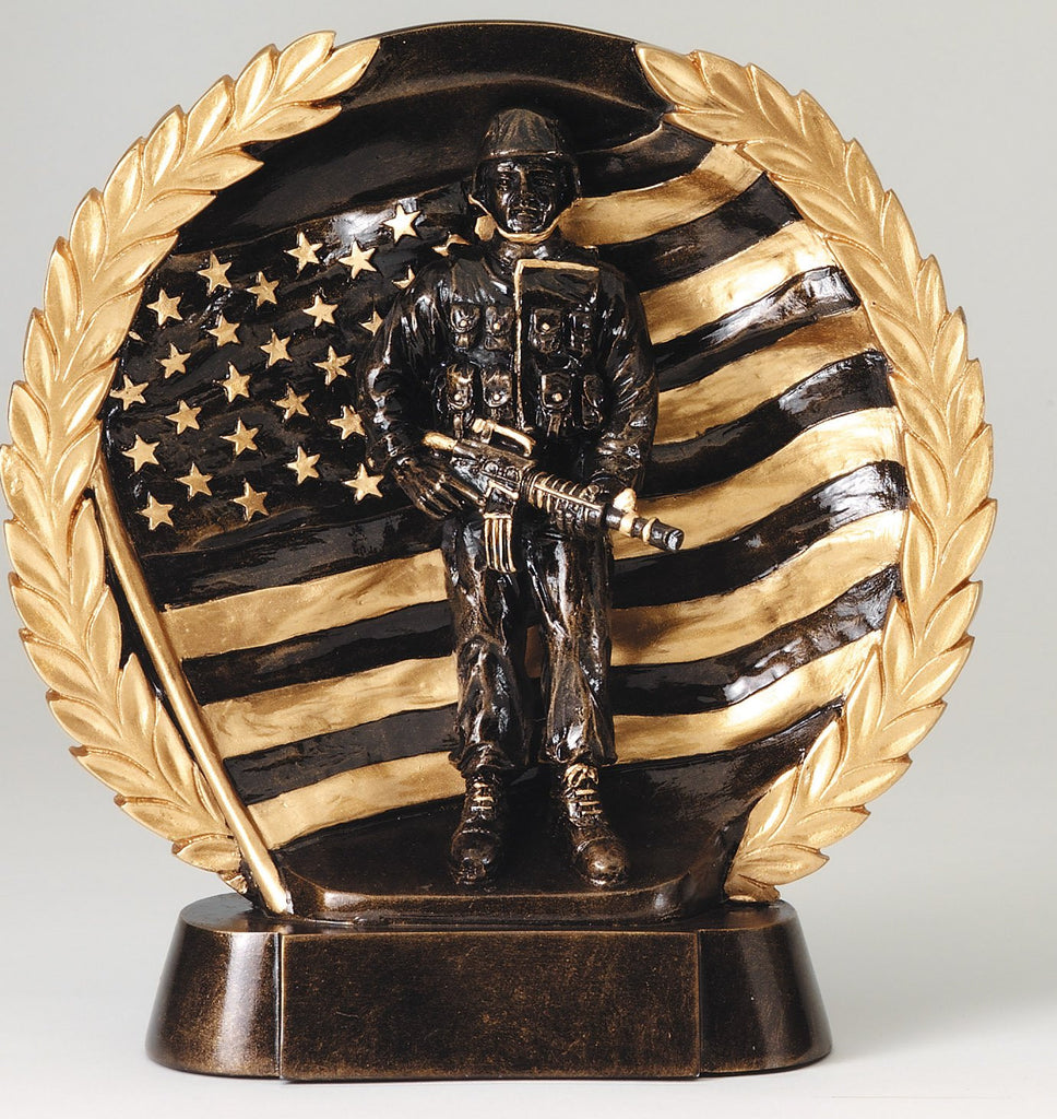 Military High Relief Award with American Flag