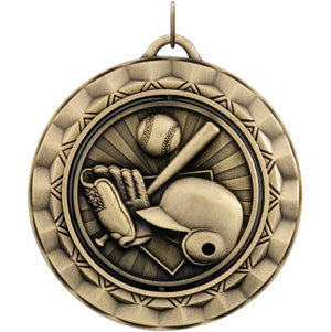 Bat and Glove Gold Spinner Medallion