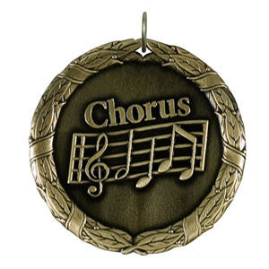 Chorus with Music Notes Medallion Gold