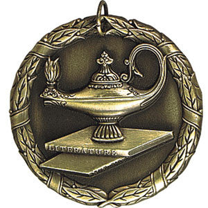 Lamp of Knowledge Medallion on Books Gold