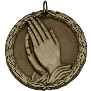 Praying Hands Medallion Gold