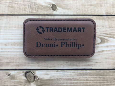 Rectangle Leatherette Name Badge