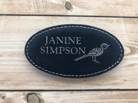Oval Leatherette Name Badge