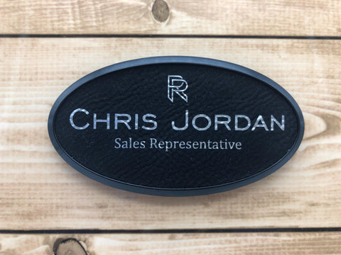 Oval Leatherette Name Badge with Plastic Frame